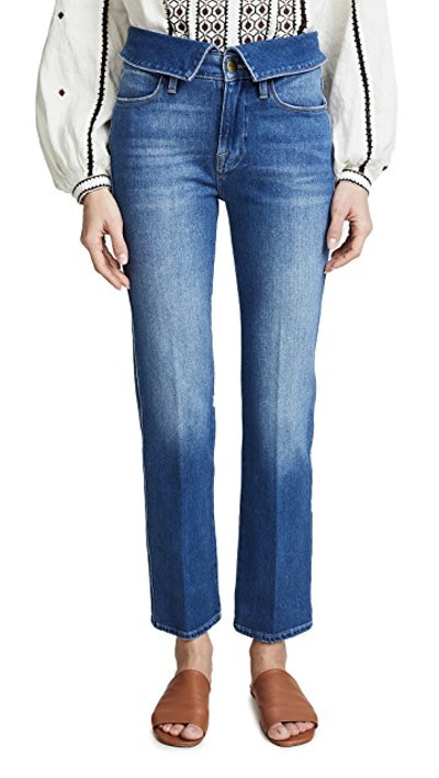 Le High Straight Fold Over Jeans