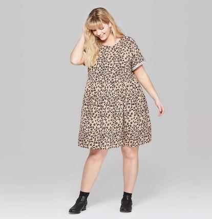 Women's Plus Size Animal Print Short Sleeve Round Neck Knit Babydoll Dress