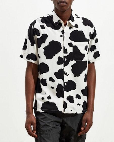 Cow Print Short Sleeve Button-Down Shirt