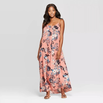 Xhilaration Women's Floral Print Sleeveless Strappy Scoop Neck Maxi Dress