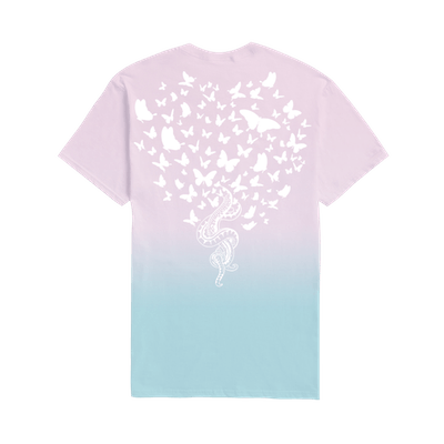 Pink & Blue Tee With Snakes & Butterflies