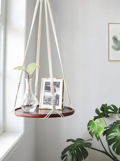 Mkono Macrame Hanging Shelf