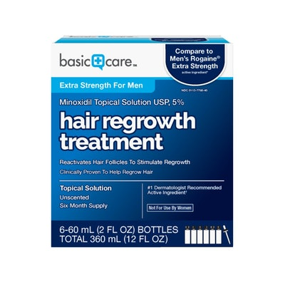 Basic Care Minoxidil Topical Solution USP, 5% Hair Regrowth Treatment for Men