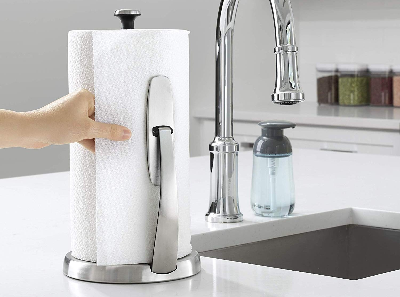 Chrome Kitchen Paper Towel Holder Stand Roll Hanger Metal Bath Rack Dispenser