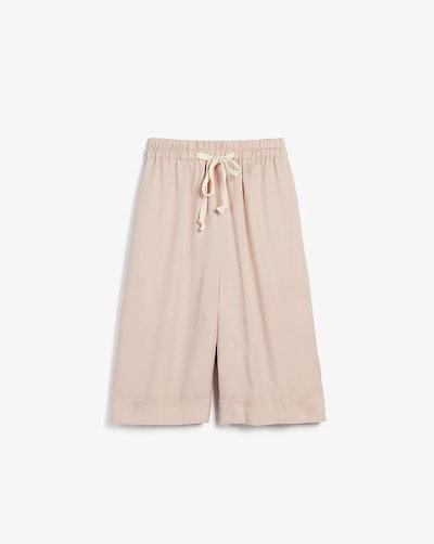 Wide Leg Twill Bermuda Shorts