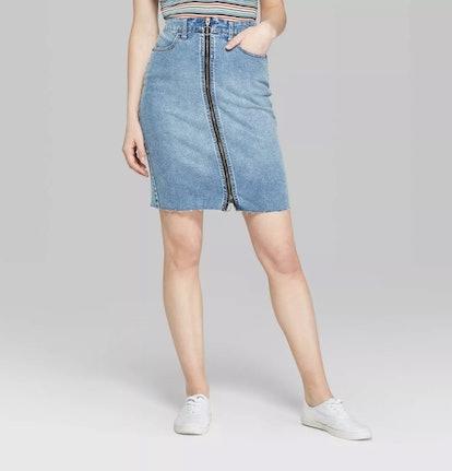 Women's Zip-Front Denim Midi Skirt