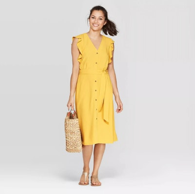 A New Day Women's Ruffle Short Sleeve V-Neck Button Front Midi Dress