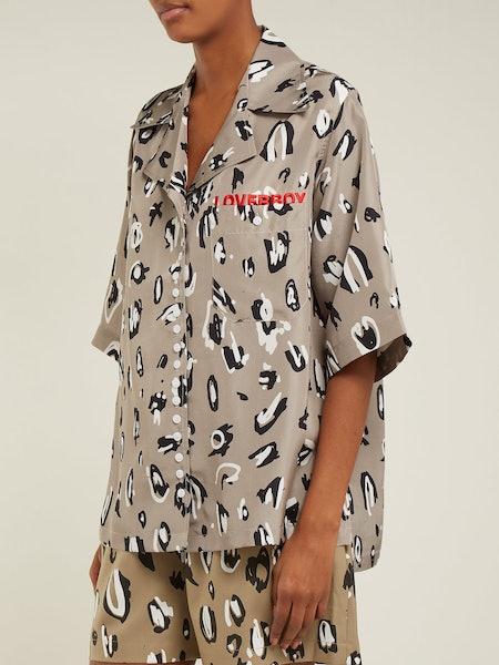 Leopard-Print Silk Bowling Shirt