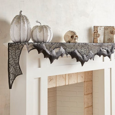 Spider Webs & Bats Halloween Mantel Scarf