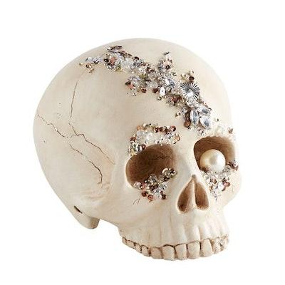 Bejeweled Skull Halloween Decor