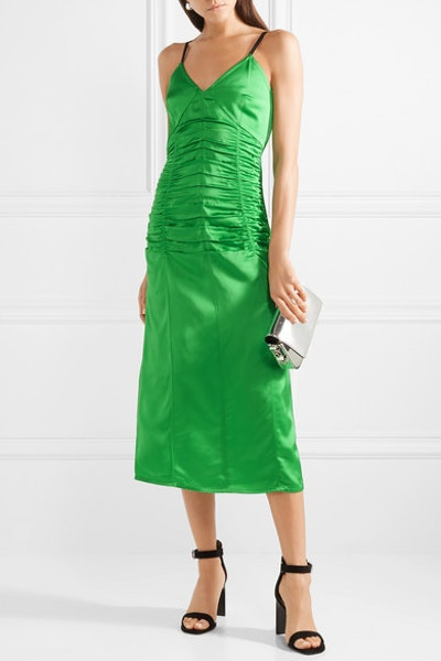 Ruched Stretch-Satin Midi Dress