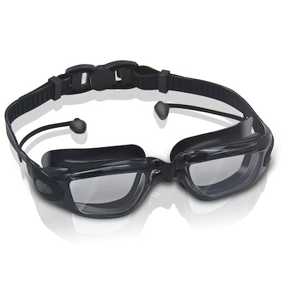 GLOUE Premium Swimming Goggles with Attached Ear Plugs