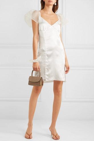 Christine Georgette-Trimmed Silk-Satin Mini Dress