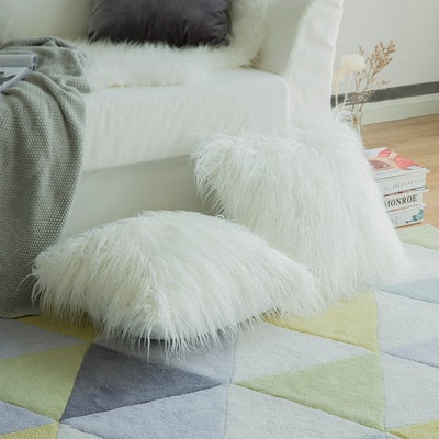 MIULEE Faux Fur Pillow Covers (Set of 2)