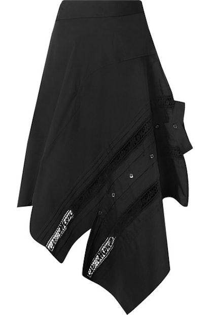 Asymmetric Lace-Trimmed Poplin Skirt