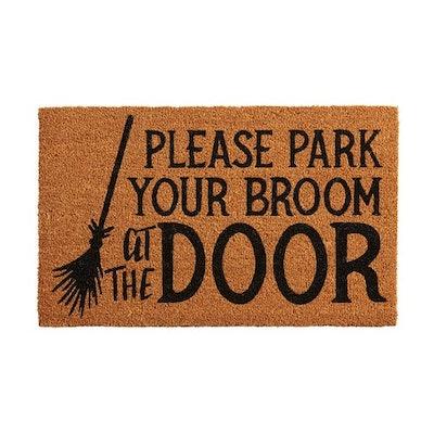 Halloween Park Your Broom Doormat