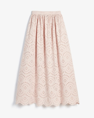 High Waisted Eyelet Lace Maxi Skirt