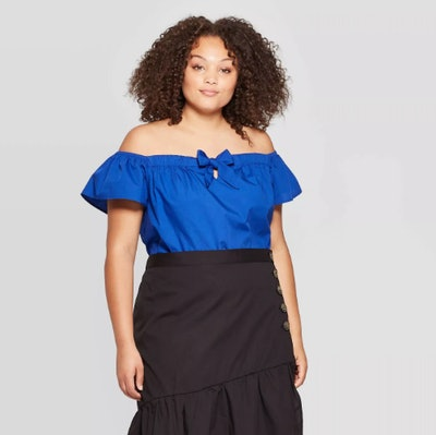Who What Wear Women's Plus Size Off the Shoulder Short Sleeve Cropped Bardot Top