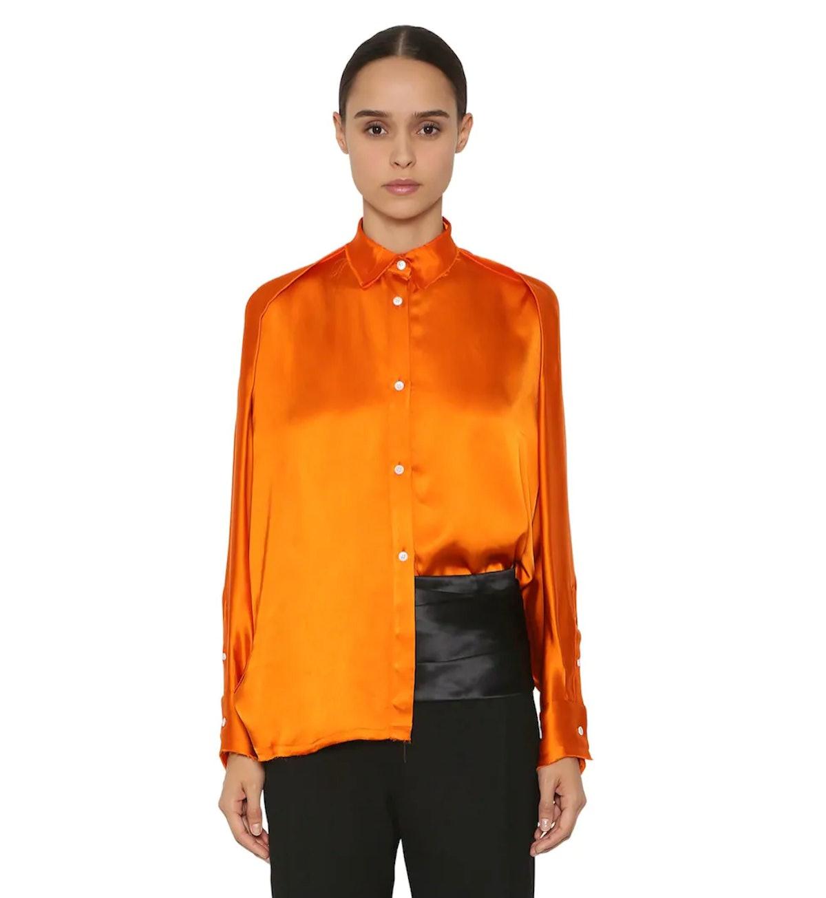 Oversize Satin Shirt in Orange