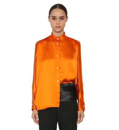 Oversize Satin Shirt in Orange