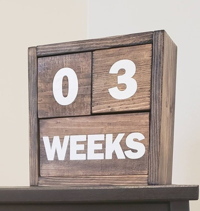 Baby Milestone Wooden Blocks With Storage Crate