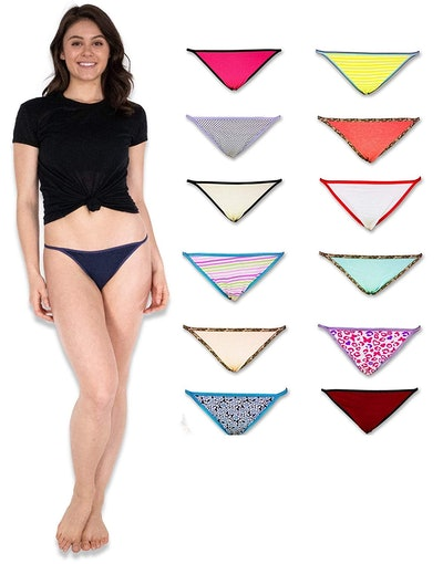 Sexy Basics Women's String Bikini Briefs (12 Pack)
