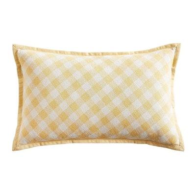 Yellow Gingham Lumbar Pillow
