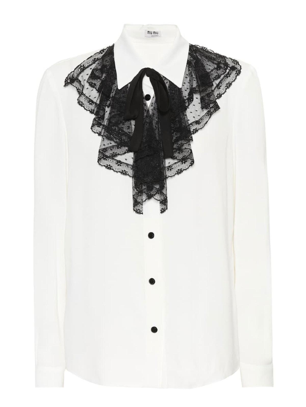 Lace-Trimmed Silk Shirt