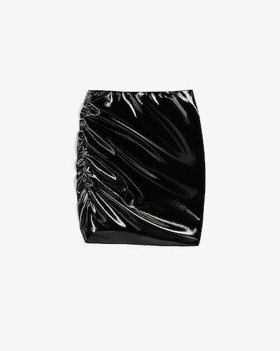 High Waisted Latex Mini Skirt