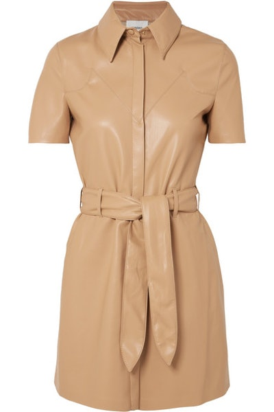Roberta Belted Vegan Leather Mini Dress