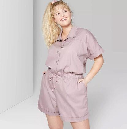 Women's Plus Size Short Sleeve Button Front Utility Romper