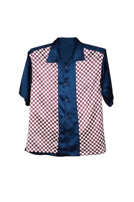 Check Cobalt Color Block Short Sleeve Button Down