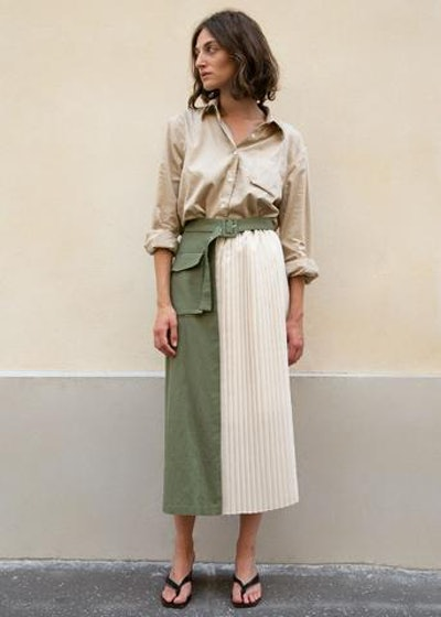 Half Pleated Utility Skirt in Khaki Green and Ecru