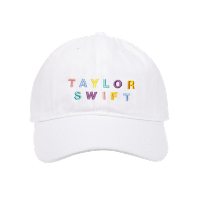 White Cap With Multi-Color Embroidery