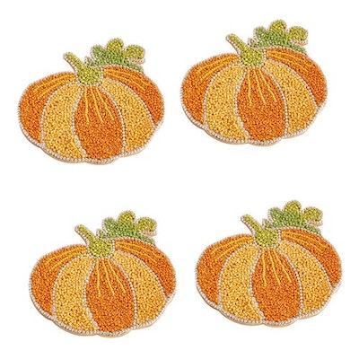 Harvest Beaded Pumpkin Coaster Set