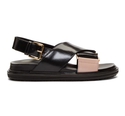 Black & Pink Fussbett Sandals
