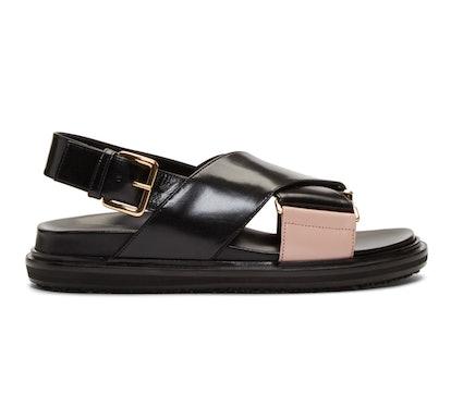 Black & Pink Fussbett Sandals