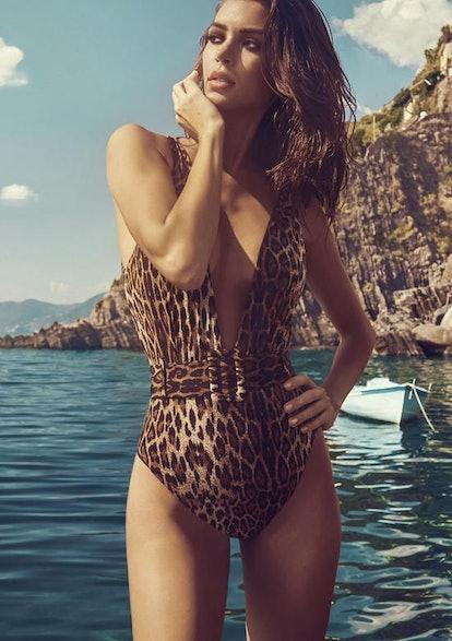 Hadley Belted Plunge One Piece - Leopard