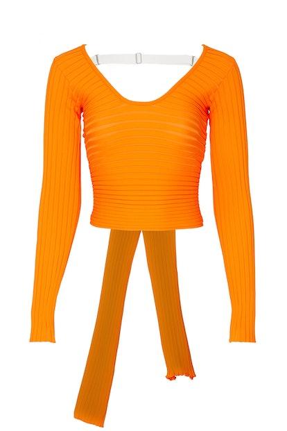 Tibi Tech Poly Ribbed Wrap Sweater