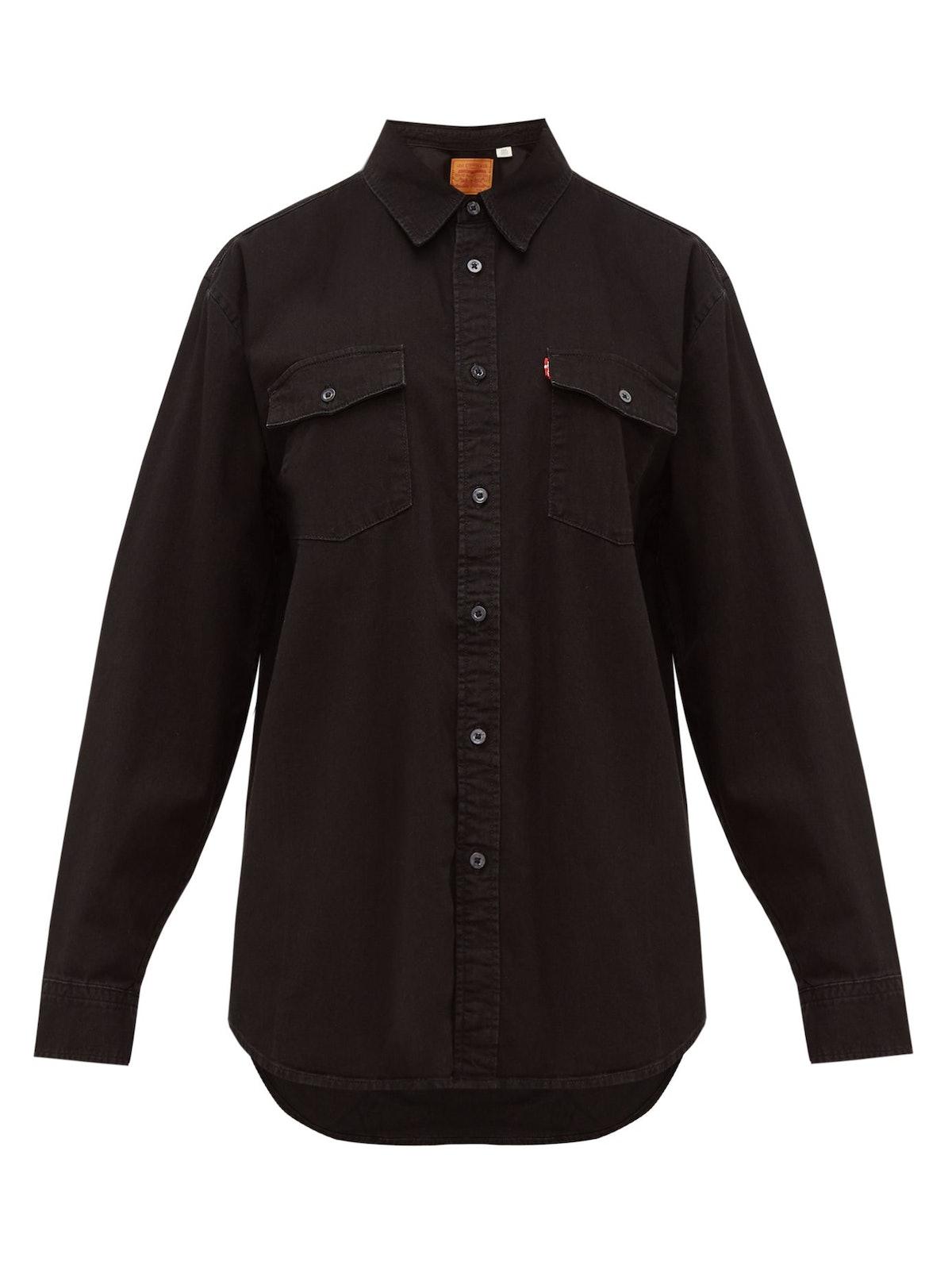 Patch-Pocket Denim Shirt