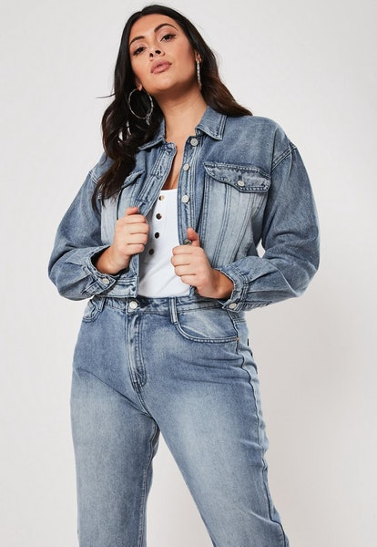 Plus-Size Blue Co-Ord Cropped Boxy Denim Jacket