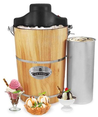 Elite Gourmet 6-Quart Old-Fashioned Ice Cream Maker