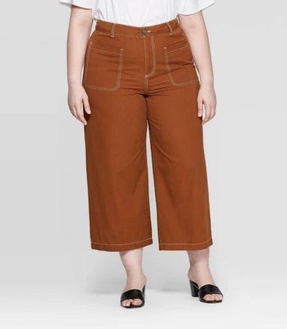 Women's Plus Size Wide Straight Leg Mid Rise Pants