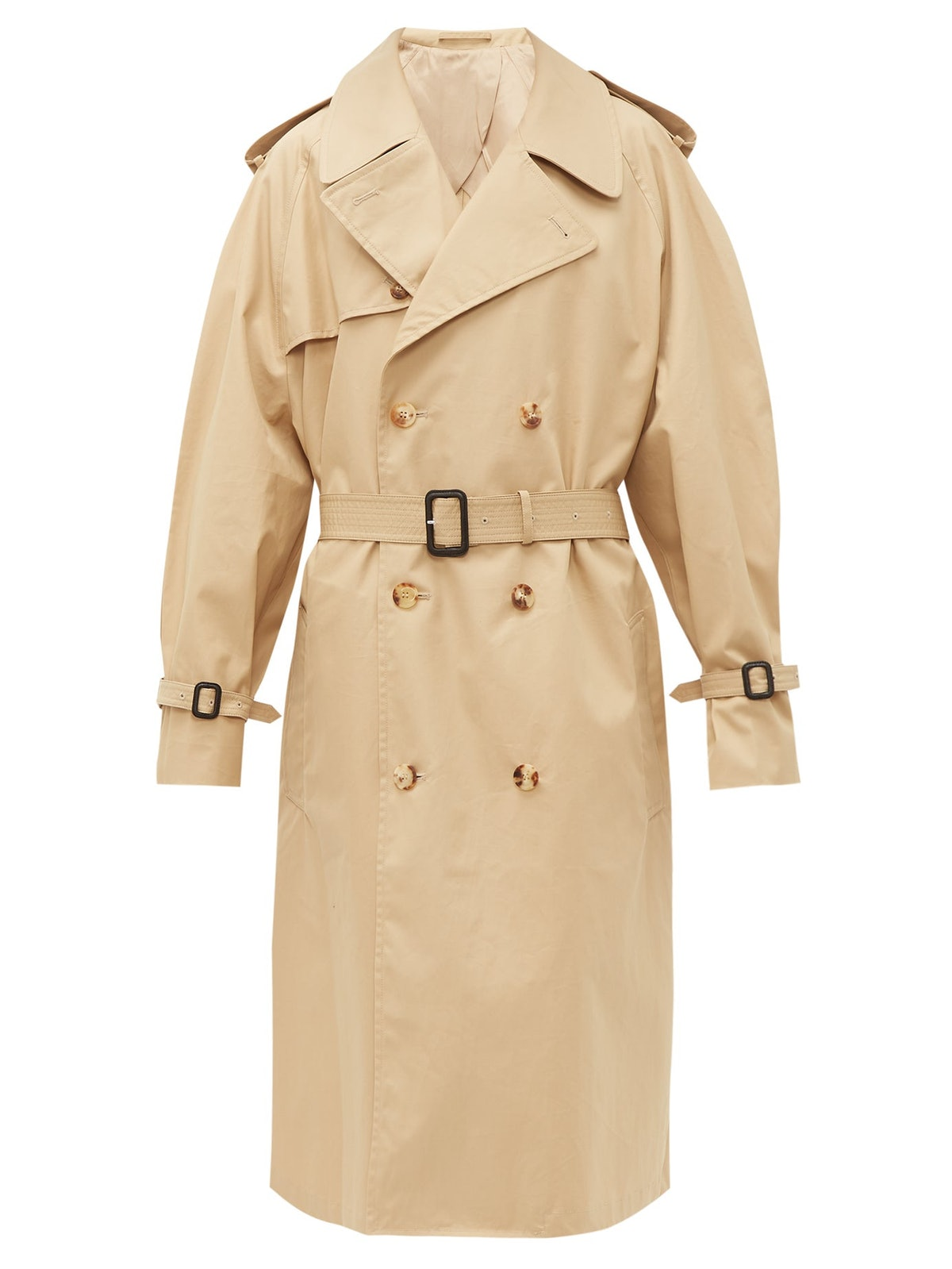 Double-Breasted Belted Cotton Trench Coat