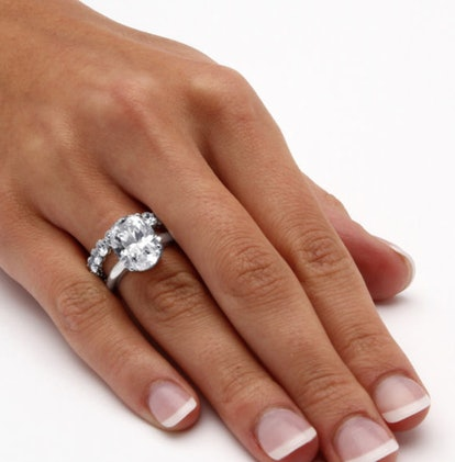 Womens White Cubic Zirconia Platinum Over Silver Bridal Set