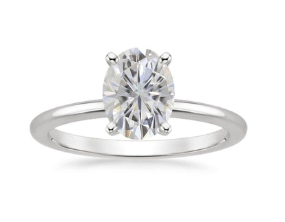 Four-Prong Petite Comfort Fit Ring with 8x6mm Premium Oval Moissanite