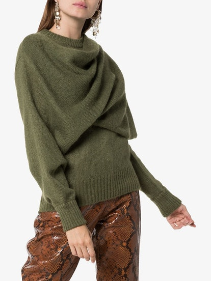 Draped-Scarf Knitted Sweater