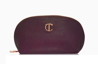 Leather Makeup Bag In night Crimson