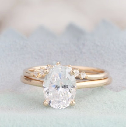 7x9mm Oval Cut Moissanite Ring
