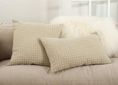 """SARO LIFESTYLE Leilani Collection French Knot Design Down Filled Cotton Throw Pillow, 14"""" x 23"""""""